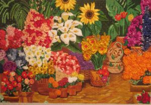 Flower Market Completed Canvas