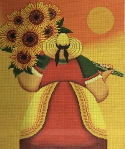 Lady with Sunflowers